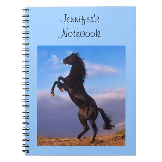 Beautiful rearing black horse custom girls name notebooks