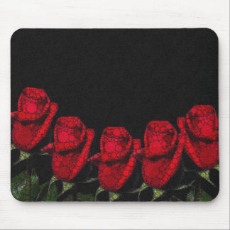 Beautiful Red Abstract Roses Mouse Pad