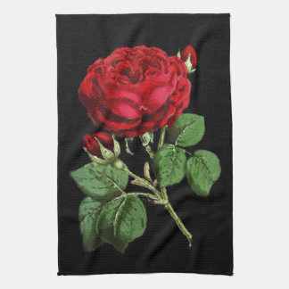 Beautiful Red Abstract Texture Rose Tea Towel