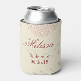 Beautiful Red and Beige Floral bridal shower Can Cooler