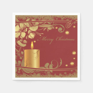 Beautiful Red and Golden Christmas Paper Napkins