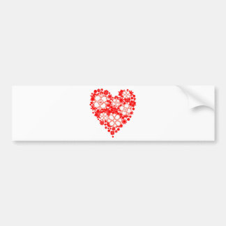 Beautiful Red and White Floral Heart Bumper Sticker