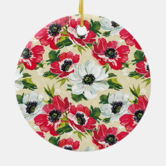 Beautiful red and white poppies on cream yellow christmas ornament