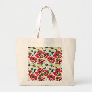 Beautiful red and white poppies on cream yellow large tote bag
