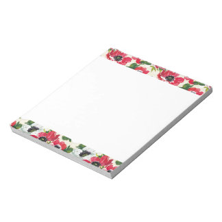 Beautiful red and white poppies on cream yellow notepad