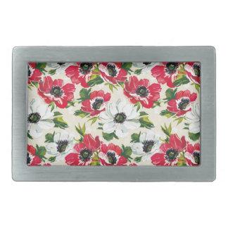 Beautiful red and white poppies on cream yellow rectangular belt buckles