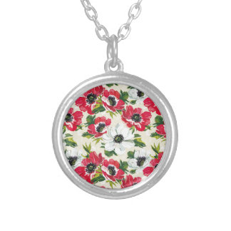 Beautiful red and white poppies on cream yellow silver plated necklace
