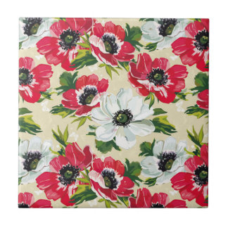 Beautiful red and white poppies on cream yellow small square tile