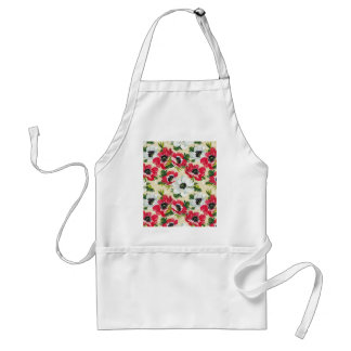 Beautiful red and white poppies on cream yellow standard apron
