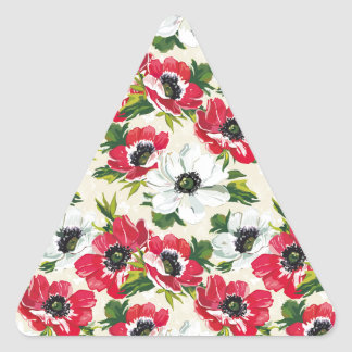 Beautiful red and white poppies on cream yellow triangle sticker