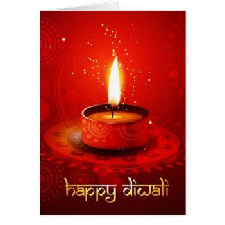 Beautiful Red Background Happy Diwali Card