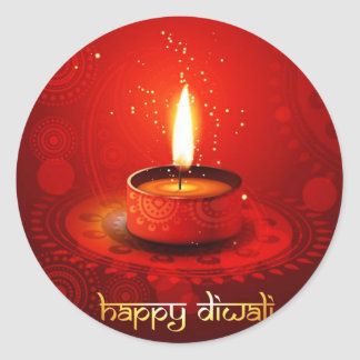 Beautiful Red Background Happy Diwali Classic Round Sticker