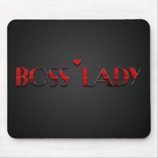 Beautiful Red Boss Lady Text with Carbon Mouse Mat
