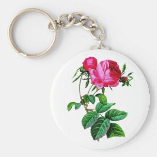 Beautiful Red Cabbage Roses by Redoute Keychain