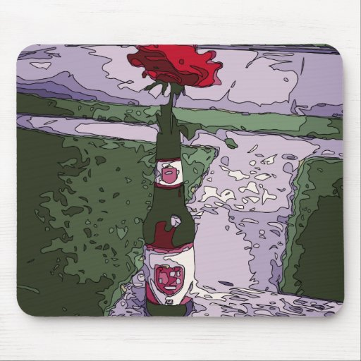 Beautiful Red Carnation in a Beer Bottle Mousepad