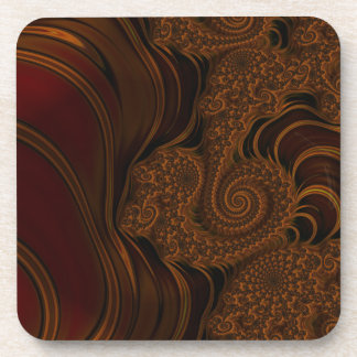 Beautiful Red Cherry Caramel Fractal Drink Coasters