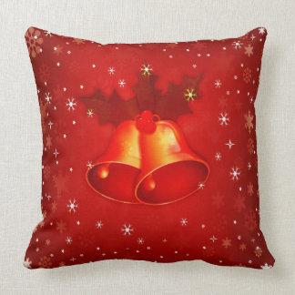 Beautiful Red Christmas Bells Elegant Christmas Throw Pillow