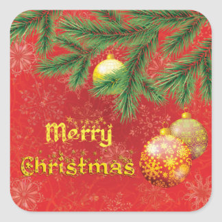Beautiful Red Christmas Inspired Square Sticker