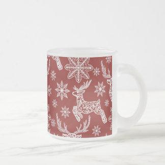 Beautiful Red Christmas Pattern Frosted Glass Coffee Mug