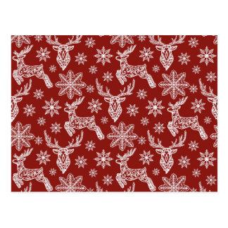 Beautiful Red Christmas Pattern Postcard