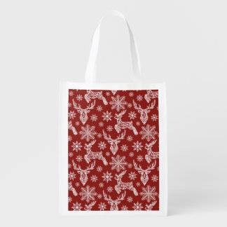 Beautiful Red Christmas Pattern Reusable Grocery Bag