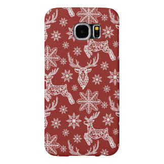 Beautiful Red Christmas Pattern Samsung Galaxy S6 Cases