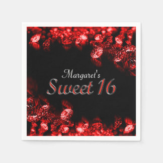 Beautiful Red Diamond Sweet 16 Napkin Disposable Napkins