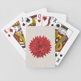 Beautiful Red Flower Over Beige Backgrround Playing Cards