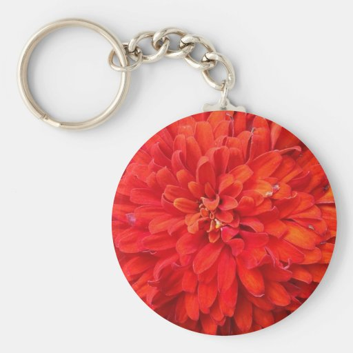 Beautiful red flower petals basic round button key ring