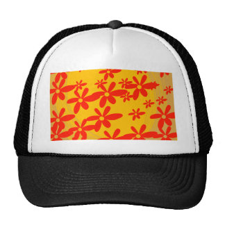 beautiful red flower with yellow background hats