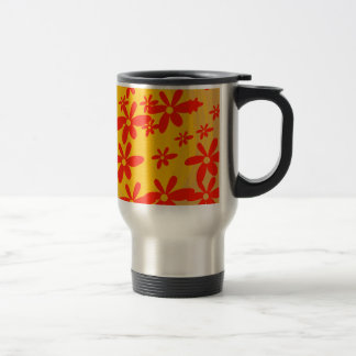beautiful red flower with yellow background coffee mug