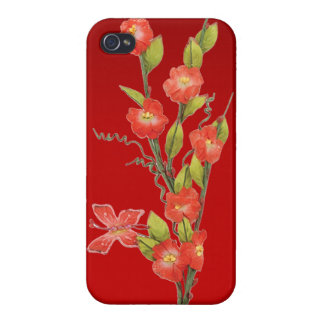 Beautiful red flowers & butterfly iPhone 4/4S cover