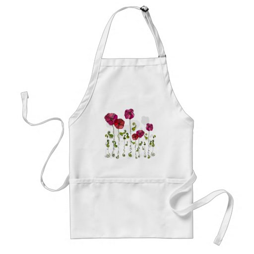 Beautiful Red Flowers Curly Leaves Aprons