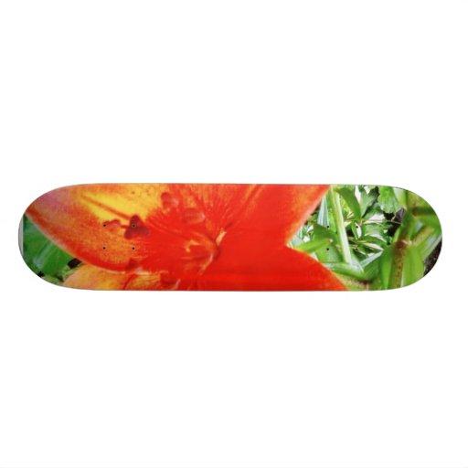 Beautiful Red Flowers In Garden Skateboard Decks
