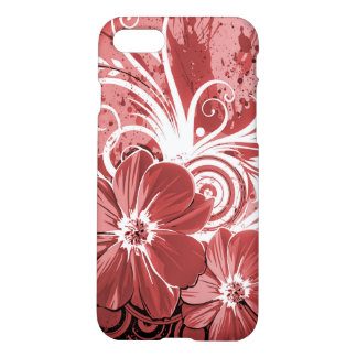 Beautiful red Flowers Swirl abstract vectror art iPhone 8/7 Case