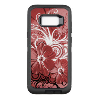 Beautiful red Flowers Swirl abstract vectror art OtterBox Defender Samsung Galaxy S8+ Case