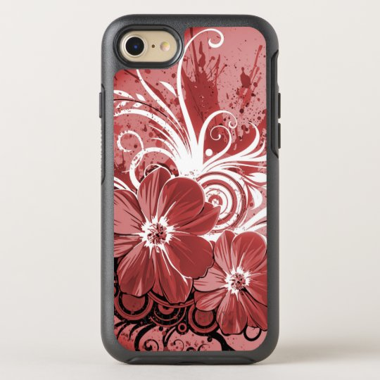 Beautiful red Flowers Swirl abstract vectror art OtterBox