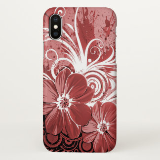 Beautiful red flowers swirl art iPhone x case