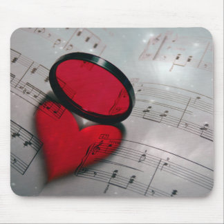 Beautiful red glass reflection forming a heart mouse mat
