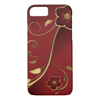 Beautiful Red & Gold Floral Fine Art iPhone 7 Case