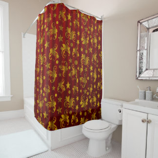 Beautiful Red & Golden Shower Curtain
