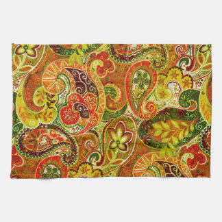 Beautiful Red Green Paisley Floral Pattern Towels