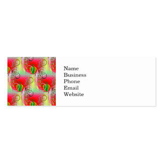 Beautiful Red Green Yellow Spring Floral Vines Double-Sided Mini Business Cards (Pack Of 20)