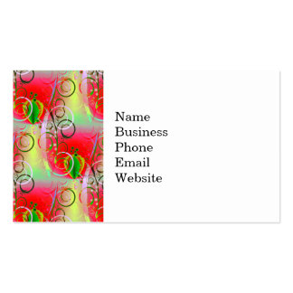 Beautiful Red Green Yellow Spring Floral Vines Double-Sided Standard Business Cards (Pack Of 100)