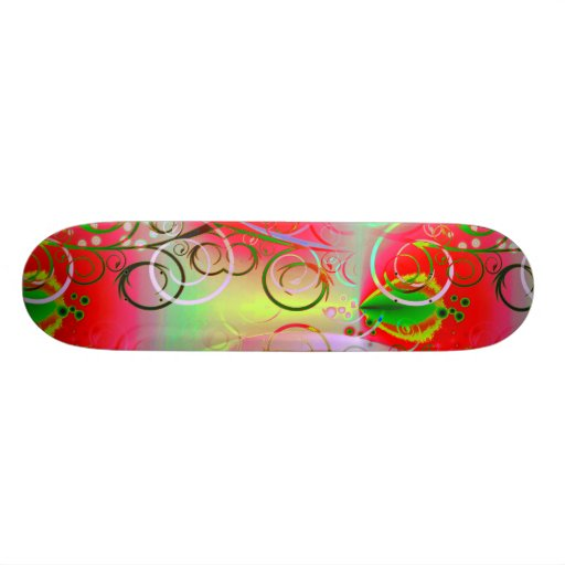 Beautiful Red Green Yellow Spring Floral Vines Skate Deck