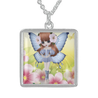 Beautiful Red Hair Princess Fairy Girl Square Pendant Necklace