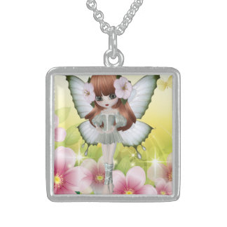 Beautiful Red Hair Princess Fairy Girl Sterling Silver Necklace