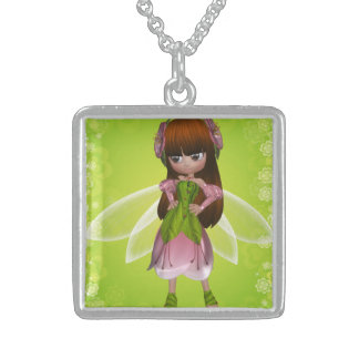 Beautiful Red Head Princess Fairy Girl Square Pendant Necklace
