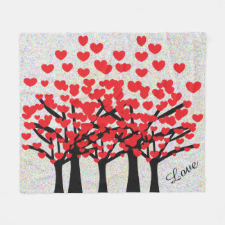 Beautiful Red Hearts Trees Love Fleece Blanket
