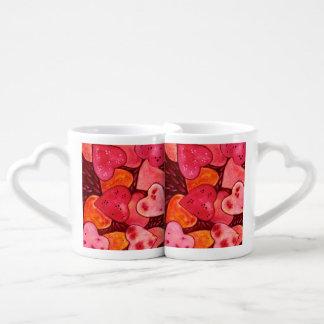 Beautiful Red Hearts Watercolor Lovers Mug Set